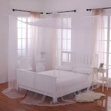 Bed Frame Canopy Heavenly 4 Post Bed Canopy White Home Kitchen