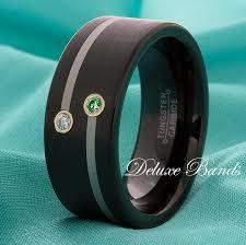 Mens Wedding Rings Black by Black Tungsten Wedding Band Emerald Diamond Anniversary Ring