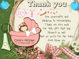 thank you notes for baby shower baby shower thank you notes sles wordings and messages baby