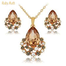 rose gold crystal necklace images Rose gold crystal necklace and earring smartbuyerz buy best jpg