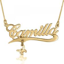 plated name necklace butterfly name necklace with charm 24k gold plated namefactory