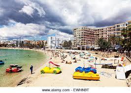 beach of santa eulalia ibiza spain stock photo royalty free