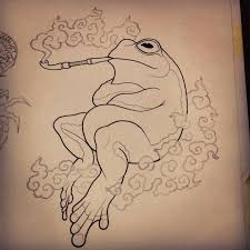 frog smoke pipe sketch illustration artwork drawing pencil