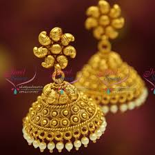 gold jhumka earrings design with price j1906 antique traditional south indian jewellery big broad jhumka