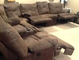 sectional sofas with recliners and cup holders single recliner with cup holder brown suede cloth sectional sofa