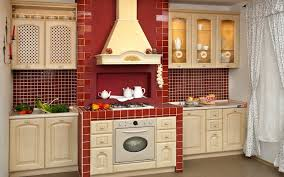 Red Kitchen Backsplash Furniture Lovely Kitchen American Woodmark Cabinets In Antique