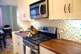 Moroccan Tile Kitchen Backsplash Colorful Kitchen Decoration Using Light Blue Orange Patterned