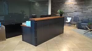 roccaforte gaming desk industrial metal u0026 wood reception desk created by artfully rogue