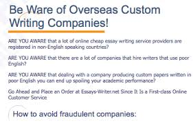The Ghostwriting Business  Trade Standards  Practices  and Secrets     The Best Schools The company below  which has a blissfully awesome sense of irony  warns us to    Be Ware of Overseas Custom Writing Companies