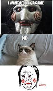 Saw Doll Meme - grumpy cat trumps evil saw doll love my pups pinterest