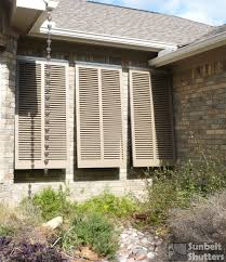 Southern Shutter Company by Cedar Bahamas Shutters With Open Louver Style Louvers At A 45