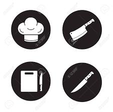 cercle de cuisine chef de cuisine outils cuisson icônes noires définies chapeau et