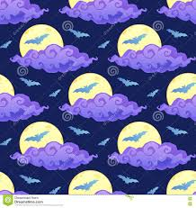 halloween background silhouettes violet clouds yellow moon and blue bats silhouettes on dark