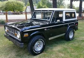 1971 early ford bronco with original black paint white interior