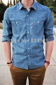 aliexpress com buy custom made blue denim dress shirt bespoke