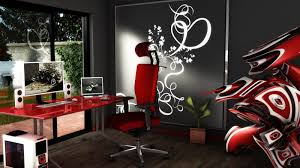 modern office room futuristic style red chair black walls