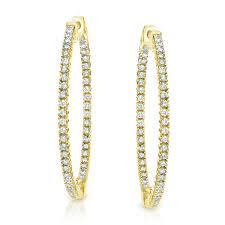 diamond hoops 14k yellow gold 4 prong setting diamond hoop earrings 4 10