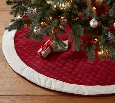 tree skirts velvet tree skirt with ivory cuff pottery barn