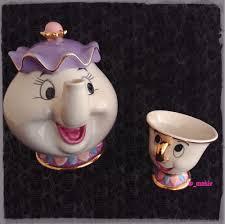 disney beauty and the beast mrs potts chip tea pot u0026amp cup set
