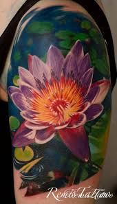 realistic color lotus flower tattoo remis tattoo