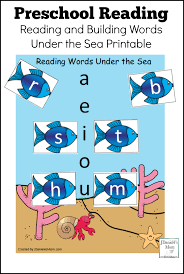 preschool reading reading and building words under the sea printable