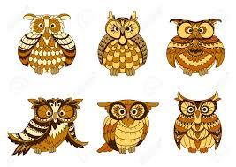owls birds with brown and yellow plumage ornamental