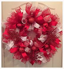red and white snowflake christmas deco mesh wreath christmas