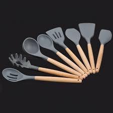 ustensile de cuisine en silicone poignée en bois silicone ustensiles de cuisine pour cuisine spatule