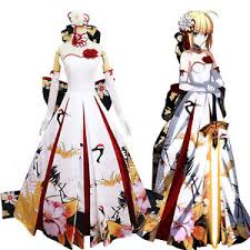 costume new year fate stay saber new year ceremony cranes wedding dress