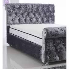 Velvet Sleigh Bed Pu Brown Leather Bed Dublin