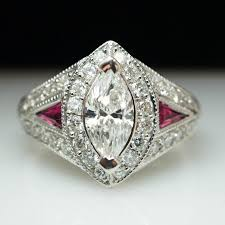 ruby engagement rings vintage 2 40ctw marquise cut diamond u0026 ruby engagement ring