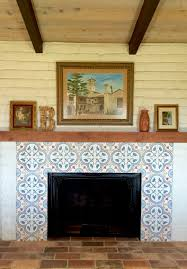 spanish hacienda style cement tile fireplace and terra cotta