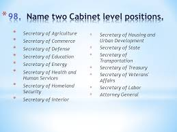 What Are Two Cabinet Level Positions With Special Thanks To Mrs Pluta 1 What Are The Colors Of Our