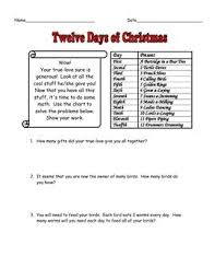 light me up math worksheet answers free 12 days of christmas math story problems with answer key