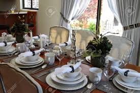 Formal Dining Table by Formal Dining Table Set With China Crystal And Silver Stock