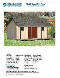 porch blueprints 16 x 20 ft guest house storage shed with porch plans blueprints
