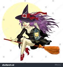 cartoon of a cute halloween witch with a broom and black cat 6