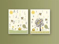 Bumble Bee Nursery Decor Neutral Bumble Bee Nursery Wall Birth By Littleprintsparties