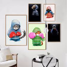 aliexpress com buy nordic style kids decoration boxing cat wall