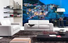 scenic living room wall murals houses on the cliffs