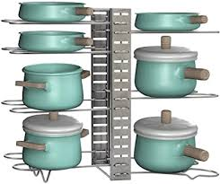kitchen cabinet storage solutions diy pot and pan pullout ezoware pots and pans organizer rack 8 tier adjustable pot pan lid holder rack with 3 diy positioning methods storage and organization for kitchen