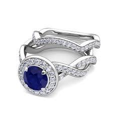 wedding ring bridal set 18k gold bridal set infinity sapphire engagement ring 6mm