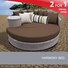 Home Design Furnishings Harmony Circular Sun Bed Outdoor Wicker Patio Furniture Cocoa