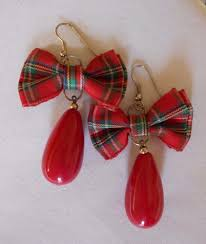 fabric bows fashion earrings plaid fabric bows large teardrop