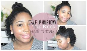 half up half down top knot hair tutorial natural hair protective