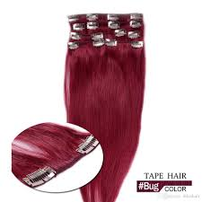 Red Tape Hair Extensions by Colour Hair Bug Clip In Human Hair Extensions Silky Straight Hair