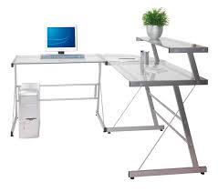 Glass L Shaped Computer Desk Glass L Shaped Desk Office Max Home Design Ideas