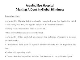 Blindness In The World Aravind Eye Hospital