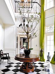 White Foyer Table Foyer In Black White And Chartreuse Interiors By Color