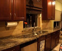 kitchen stone backsplash ideas with dark cabinets beadboard